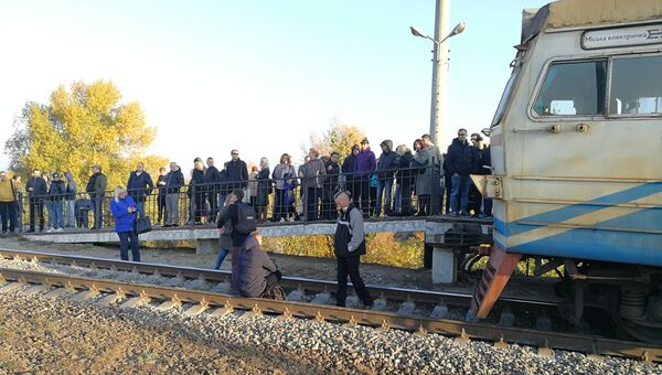Заблокированная электричка в Киеве
