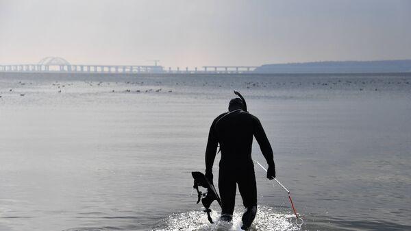 Аквалангист на берегу Керченского пролива. Архивное фото