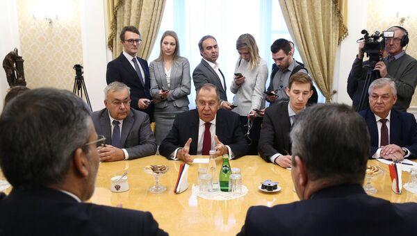 Глава МИД РФ Сергей Лавров во время встречи с представителями астанинской тройки в Москве. 24 октября 2018