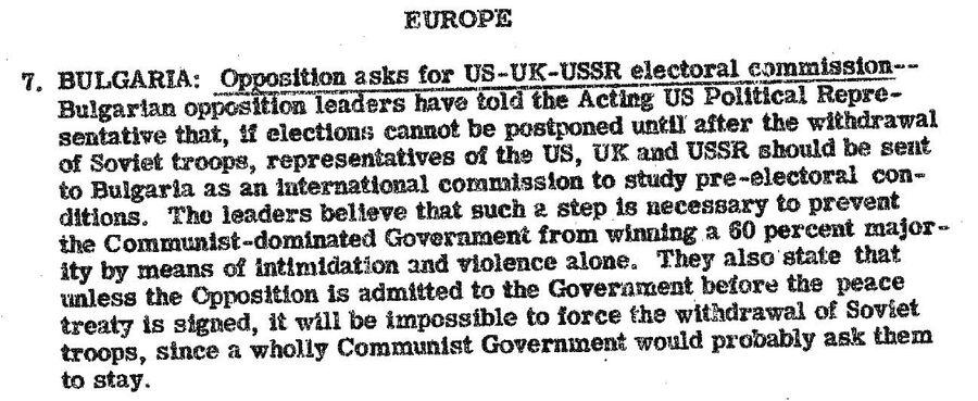 Сообщение в сводке от 23 сентября 1946 года о предвыборной ситуации в Болгарии