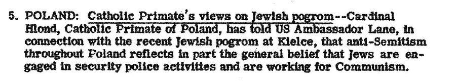 Сообщение в сводке от 10 июля 1946 года с объяснением польским кардиналом Августом Хлондом причин еврейского погрома в Кельце