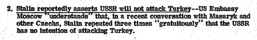 Сообщение в сводке от 13 августа 1946 года со ссылкой на Иосифа Сталина, обещающего не воевать с Турцией