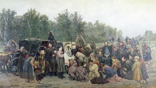 Репродукция картины художника Константина Савицкого Встреча иконы из собрания Государственной Третьяковской галереи