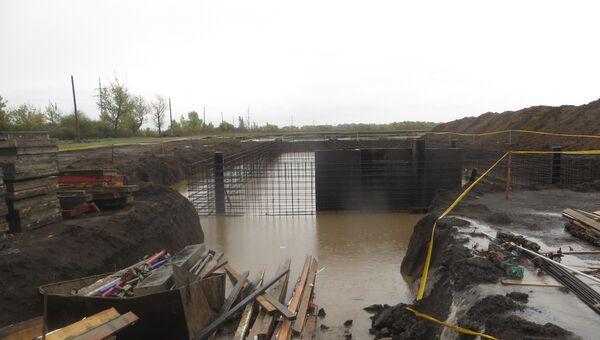 Площадка строительства ветростанции в Адыгее, пострадавшая от наводнения