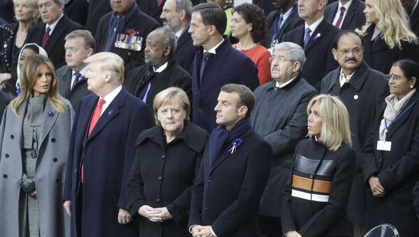 Мероприятия у Триумфальной арки в Париже по случаю 100-летия окончания Первой мировой войны. 11 ноября 2018