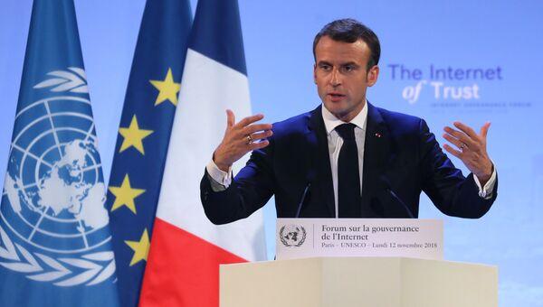 Президент Франции Эммануэль Макрон в штаб-квартире ЮНЕСКО в Париже, Франция. 12 ноября 2018