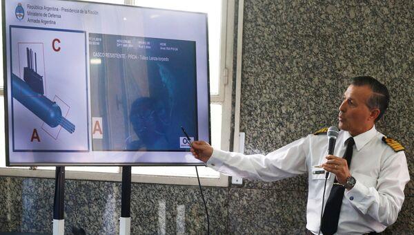 Фото обнаруженной подводной лодки Сан-Хуан во время пресс-конференции в Буэнос-Айресе
