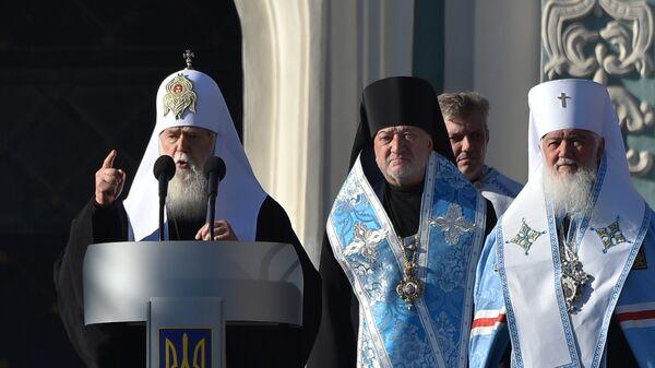Патриарх Филарет (предстоятель неканонической церковной структуры Украины) во время молебна. Архивное фото