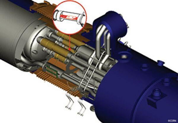 Схема аварии на БАК, красным показано поврежденное электрическое соединение между двумя магнитами