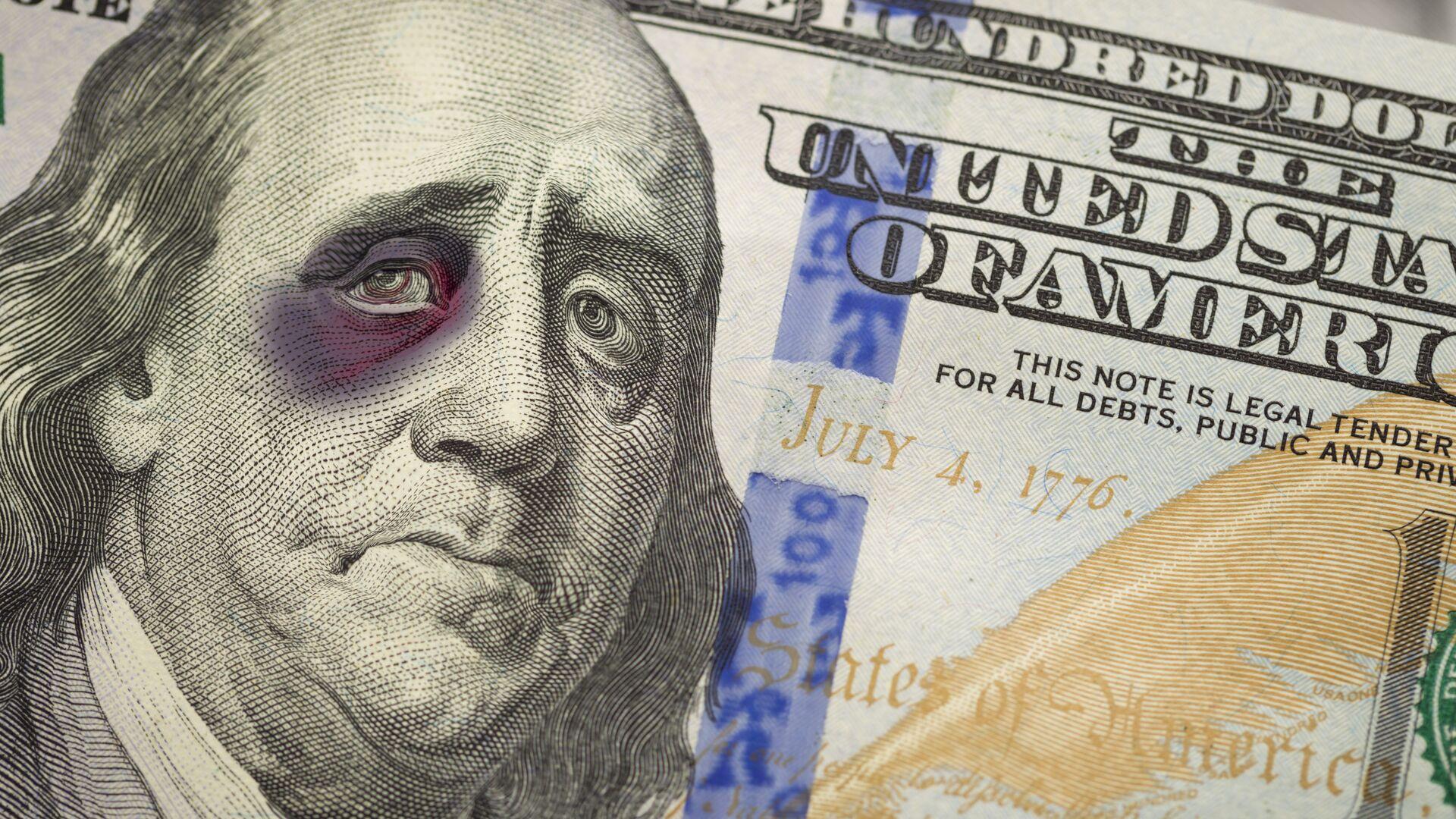 Изображение Бенджамина Франклина с подбитым глазом на банкноте номиналом в 100 долларов США  - РИА Новости, 1920, 08.02.2021
