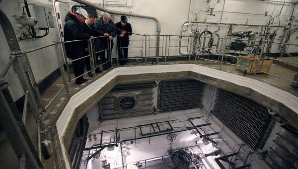 Председатель правительства РФ Дмитрий Медведев во время осмотра строящегося на АО Балтийский завод атомного ледокола. 28 ноября 2018