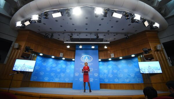 Официальный представитель министерства иностранных дел России Мария Захарова во время брифинга в Москве. 30 ноября 2018