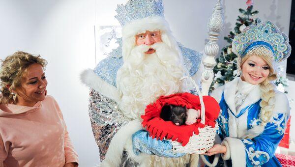 Во время встречи с Дедом Морозом в Московском зоопарке. 1 декабря 2018