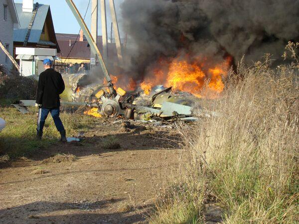 Крушение вертолета Ми-8 под Казанью, фото с места событий