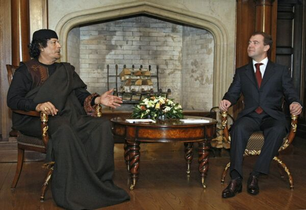 Встреча президента РФ Дмитрия Медведева с ливийским лидером Муамаром Каддафи