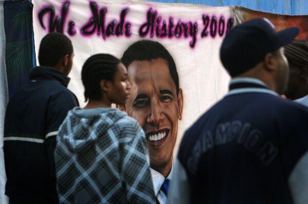 Плакат с изображением Барака Обамы в Нью-Йорке