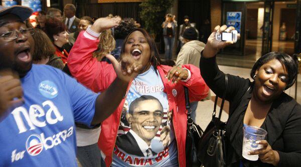 Сторонники Барака Обамы в Гринсборо, Северная Каролина