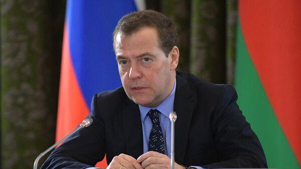 Председатель правительства РФ Дмитрий Медведев на заседании Совета министров Союзного государства России и Белоруссии в Бресте. 13 декабря 2018