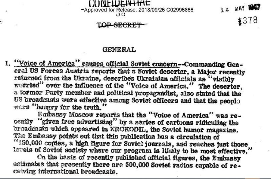 Фрагмент обзора донесений разведки США от 12 мая 1947 года с сообщением о том, как Крокодил рекламирует Голос Америки