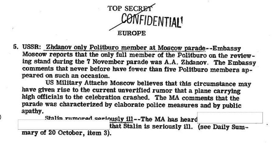 Фрагмент обзора донесений разведки США от 12 ноября 1946 года, содержащий наполовину рассекреченную информацию о болезни Сталина