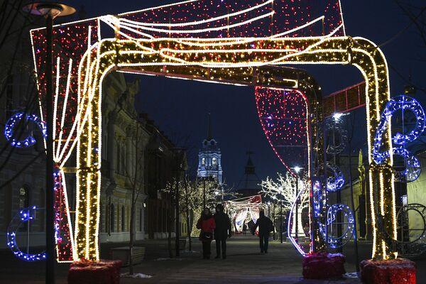 Новогодняя иллюминация на улице Металлистов в Туле