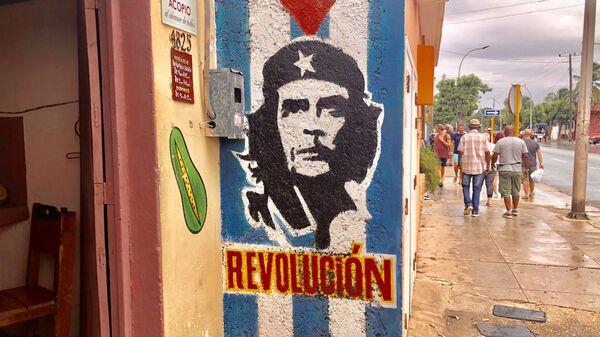 Граффити с Че Гевара на улице Варадеро, Куба