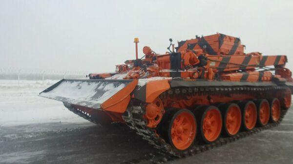 Бронированный эвакуатор на базе танка Т-72 приступил к работе в аэропорту Домодедово