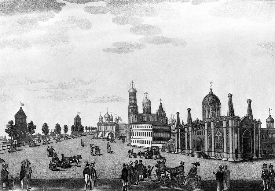 Вид на Вознесенский монастырь в Московском Кремле