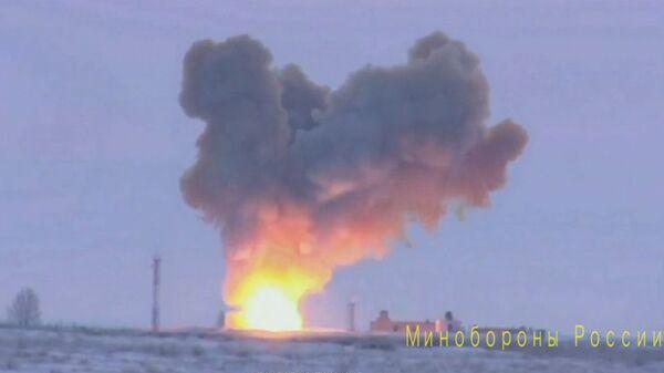 Кадры запуска ракеты Авангард на полигоне Кура в Камчатском крае