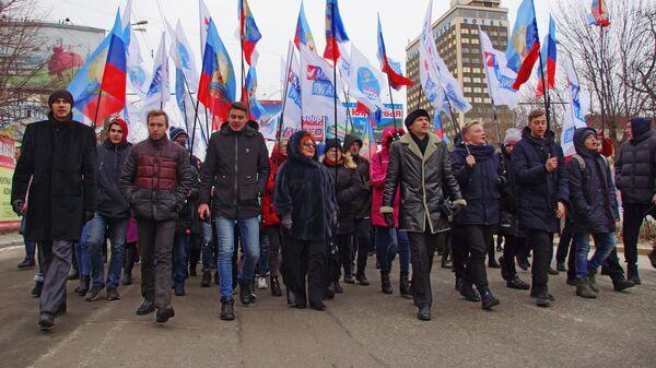 Участники марша Донбасс непокорённый в Луганске. 27 декабря 2018