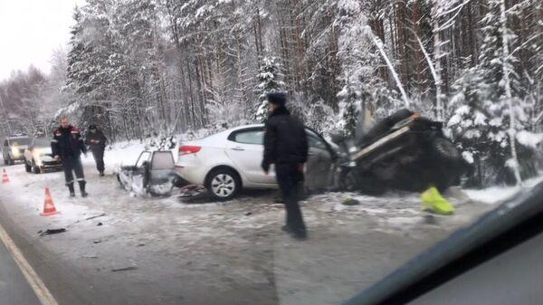 На месте ДТП в Лодейнопольском районе Ленинградской области. 2 января 2019
