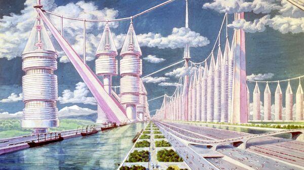 Репродукция картины Георгия Иосифовича Покровского (1901-1979) (Москва) Город будущего