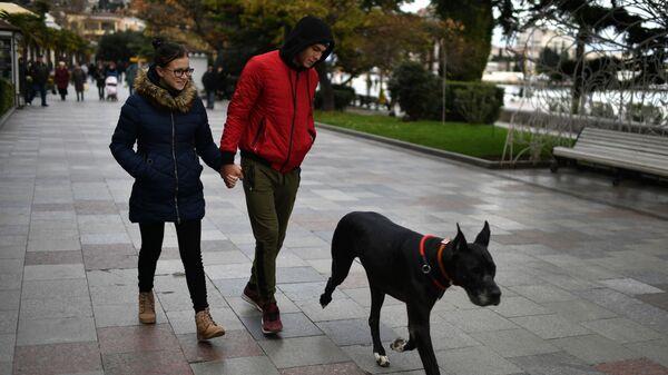 Молодые люди гуляют с собакой в Ялте