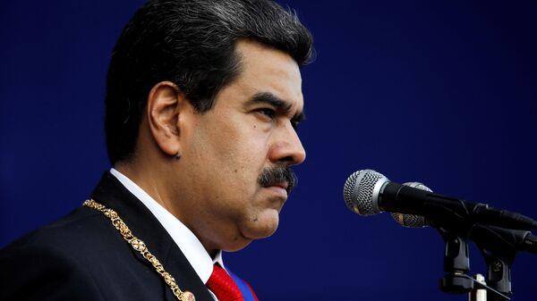 Президент Венесуэлы Николас Мадуро во время принесения присяги в качестве президента Венесуэлы на период 2019-2025 годов. 10 января 2019