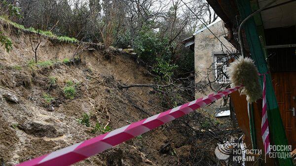 Обвал опорной стены в Ялте. 11 января 2019