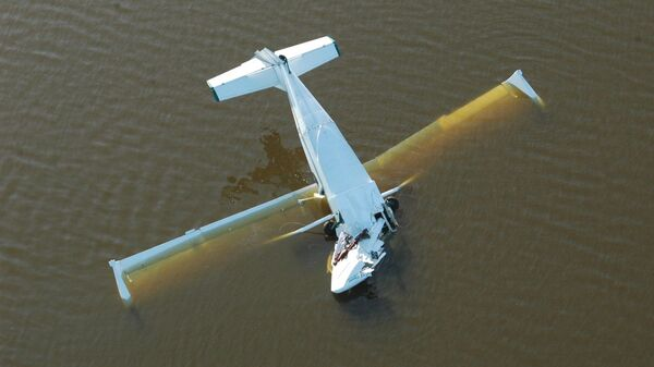 Место падения самолета-амфибии СК 12 Орион в озеро Летнее Тюменской области