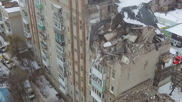 Последствия взрыва бытового газа в доме под Ростовом. Съемка с воздуха