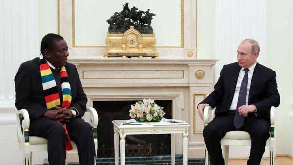 Президент РФ Владимир Путин и президент Республики Зимбабве Эммерсон Мнангагва во время встречи