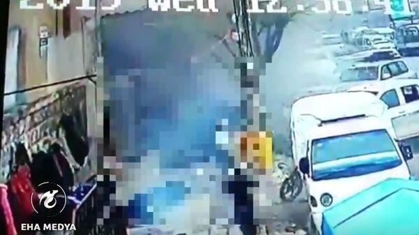 Скриншот видео взрыва в сирийском Манбидже