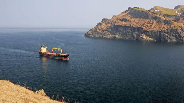 Сухогруз заходит в бухту Крабовая острова Шикотан
