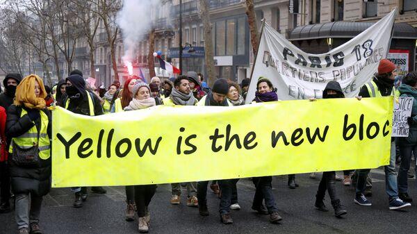 Протестующие в желтых жилетах в Париже, Франция. 19 января 2019