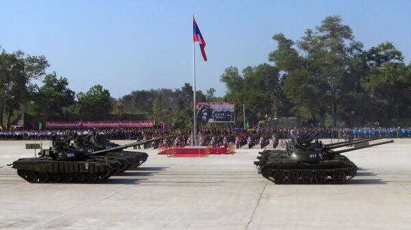 Военный парад, посвящённый 70-летию со дня основания Народной армии Лаоса