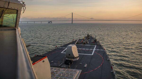 Эсминец ВМС США Портер в проливе Скагеррак. 20 января 2019