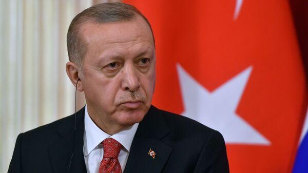 Президент Турции Реджеп Тайип Эрдоган во время совместной с Владимиром Путиным на пресс-конференции по итогам встречи. 23 января 2019