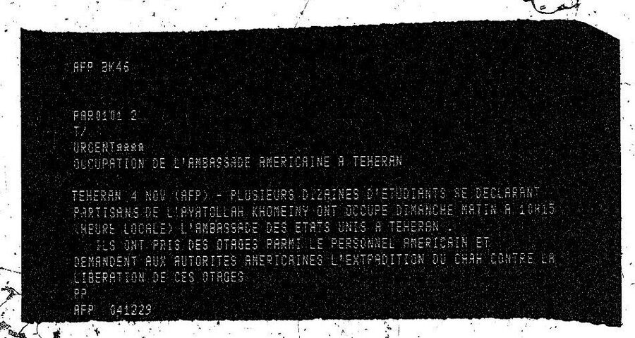 Репродкция молнии французского новостного агентства AFP о захвате посольства США в Тегеране студентами. 4 ноября 1979 года