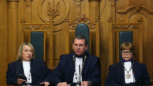 Судьи Верховного суда Украины на заседании суда, где рассматривается жалоба на арест руководителя портала РИА Новости Украина Кирилла Вышинского.  25 января 2019