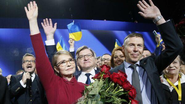 Лидер партии Батькивщина Юлия Тимошенко на съезде партии. Киев, Украина