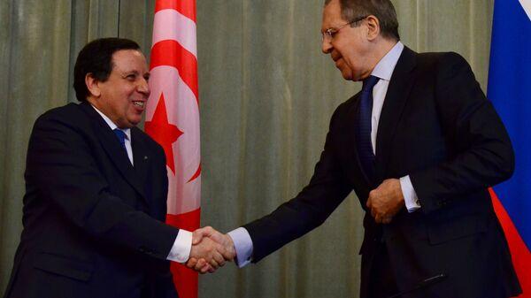 Глава МИД Росии Сергей Лавров с Министром иностранных дел Тунисской Республики Хмаисом Жинауи