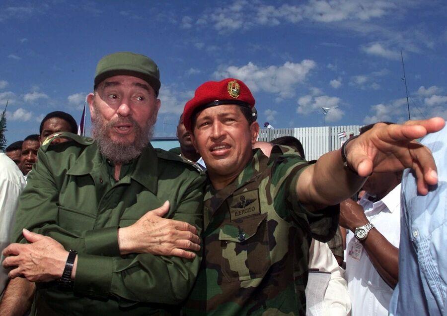 Президент Кубы Фидель Кастро с президентом Венесуэлы Уго Чавесом в Баринасе, Венесуэла