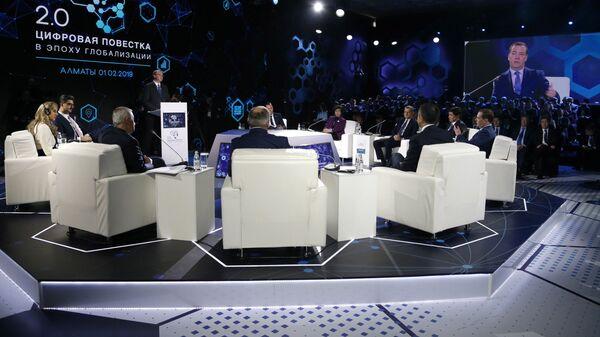 Дмитрий Медведев на пленарной сессии форума Цифровая повестка в эпоху глобализации 2.0. Инновационная экосистема Евразии в Алма-Ате. 1 февраля 2019